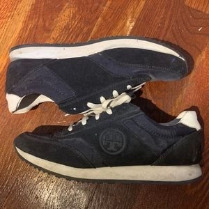 Tory Burch Rubber Logo Suede Trainers